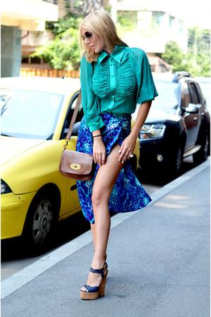 aquamarine Paula Ferani shirt - brown Mulberry bag