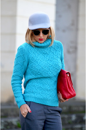 red YSL shoes - turquoise blue MARC CAIN sweater - red christian dior bag