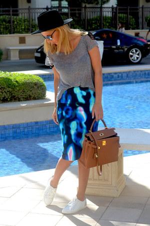 aquamarine MARC CAIN skirt - white Louis Vuitton shoes - brown Hermes bag