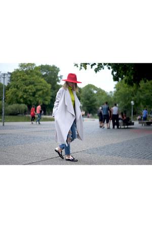 MARC CAIN coat - Zara jeans - red H&M hat