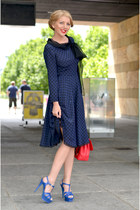 navy Miu Miu dress - red christian dior bag - dark green Tom Ford sunglasses