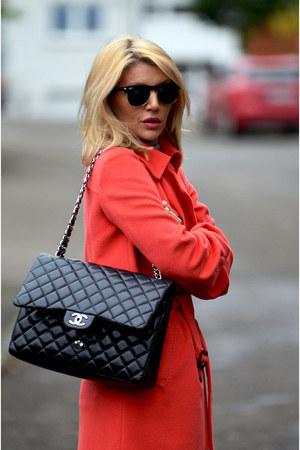 carrot orange MARC CAIN coat - burnt orange Zara jeans - black Chanel bag