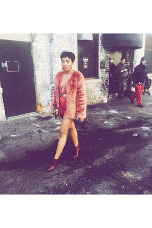 light orange furry Forever 21 coat - brick red two toned shoes
