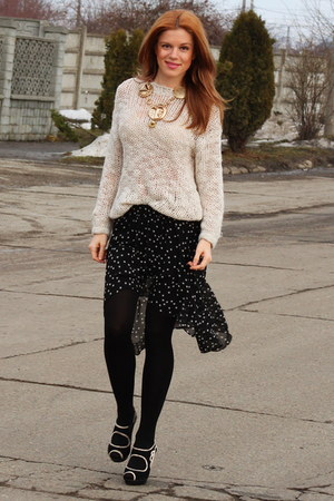 Zara skirt - Topshop shoes - H&M sweater