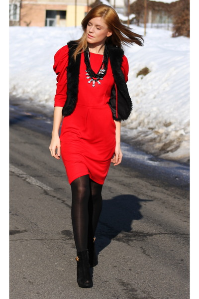 red dress Primark dress - vintage boots - Topshop necklace