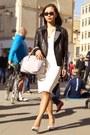 White-shift-zara-dress-black-jacket-silver-bag-white-heels
