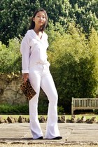 white jeans - black boots - white shirt - brown bag