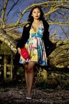 sky blue floral skater asos dress - black trente swing coat