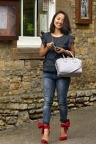 red shoes - Zara jeans - silver bag - gray ruffle Mango top