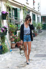 Black-h-m-cardigan-blue-vintage-shorts-silver-american-apparel-vest-blue-v
