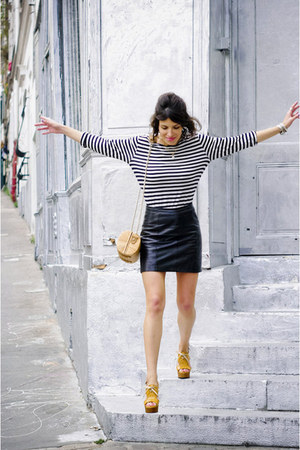 beige Zara bag - yellow Chie Mihara heels - black camaieu skirt - black Petit Ba