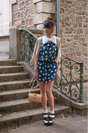 beige Urban Outfitters cardigan - blue Zara dress - beige Zara accessories - whi