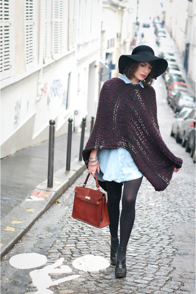 black asos hat - sky blue Zara shirt - tawny vintage bag - crimson handmade cape