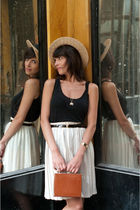 black majestic vest - beige vintage from Ebay skirt - beige Zara hat - brown Vin
