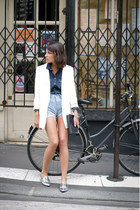 ivory Zara jacket - navy Levis shirt - light blue Levis shorts