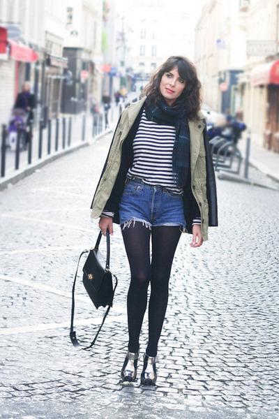 navy Levis jeans - olive green Zara jacket - black Petit Bateau t-shirt