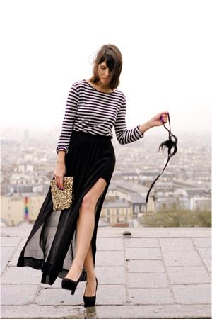 black Zara skirt - gold Zara bag - black new look heels