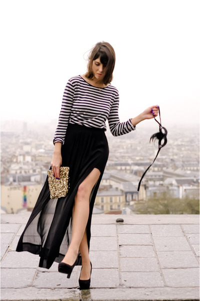 black Zara skirt - gold Zara bag - black new look heels
