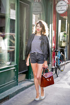 brick red vintage bag - black Zara jacket - charcoal gray UO shorts