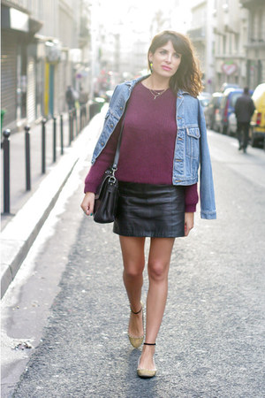 black Zara skirt - sky blue vintage jacket - magenta H&amp;M jumper