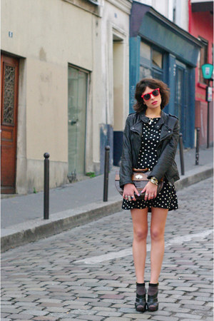 black Zara dress - black Zara jacket - dark brown vintage bag - red Urban Outfit