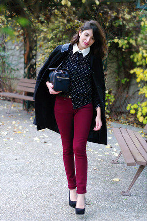 black Topshop shirt - black Claudie Pierlot coat - brick red Topshop jeans