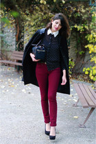 black Topshop shirt - black Claudie Pierlot coat - brick red Topshop jeans