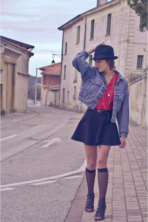 blue vintage jacket - red vintage shirt - black American Apparel skirt - black O