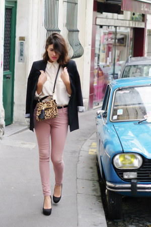 pink Topshop jeans - black Zara jacket - off white H&M shirt - camel Topshop bag