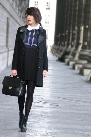 navy vivetta dress - black Claudie Pierlot coat - black vintage bag