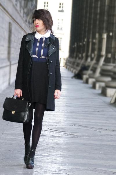 navy vivetta dress - black Claudie Pierlot coat - black vintage bag