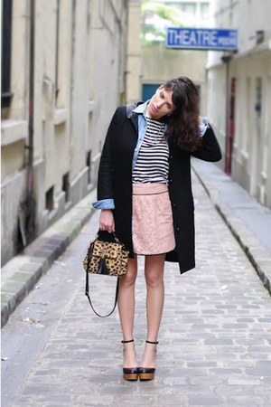 Topshop bag - Claudie Pierlot coat - vintage shirt - Ekyog skirt