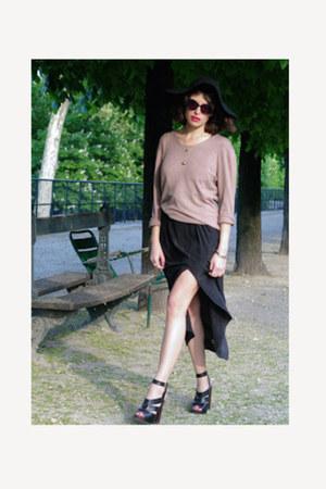 black Urban Outfitters dress - camel Zara sweater - black Topshop heels