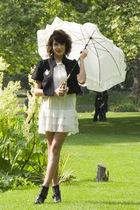 beige Maje dress - black Marc Jacobs boots - black nouvelle selection jacket