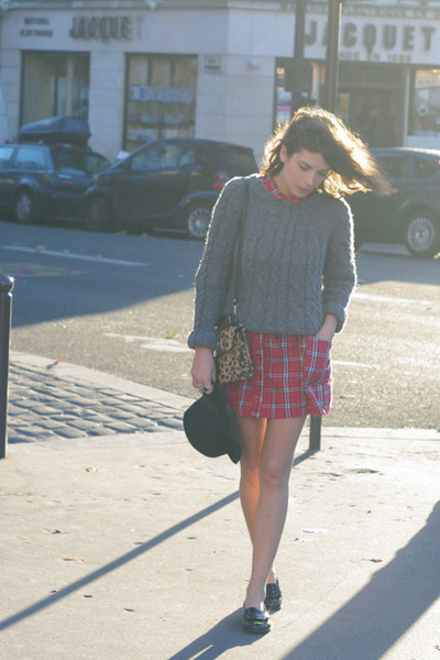 red Zara sweater - asos dress - mustard Topshop bag - black vagabond loafers