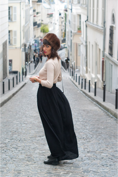 brown vintage hat - black vintage shoes - black Zara skirt