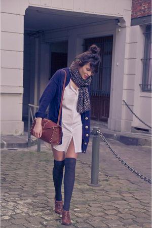 blue H&M cardigan - brown H&M shoes - beige Maje shirt - brown Zara accessories
