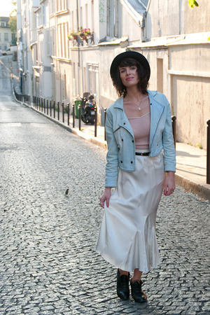 blue H&amp;M jacket - beige Oysho top - beige vintage skirt - black asos hat - black