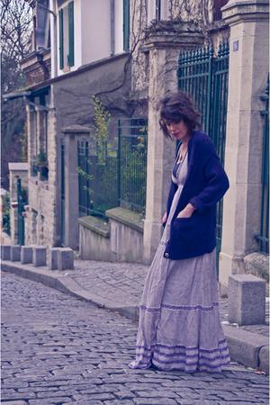 blue H&M cardigan - blue Zara dress - gold H&M necklace