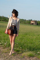 blue Zara shorts - gold Zara shoes - blue Topshop top