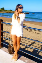 white Zara shorts - beige Zara shoes - brown Louis Vuitton bag