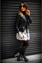 silver Jeffrey Campbell shoes - white H&M dress - black Zara jacket