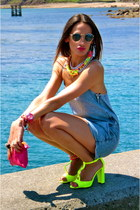 yellow Zara shoes - hot pink Zara bag - vintage sunglasses