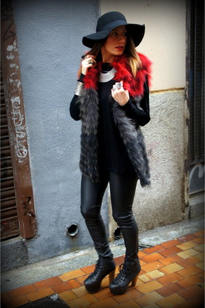 ruby red bdba vest - black Jeffrey Campbell shoes - black H&M hat