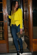 yellow Zara jacket - navy Miss Sixty jeans - gold Zara bag