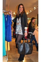 H&M blazer - vintage dress - Raquel Pando bag - BLANCO heels - Guess watch