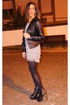 H&M dress - Jeffrey Campbell boots - leather Zara jacket - hazel earrings