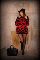 black Zara shoes - black Zara hat - red Mango sweater - black Parfois bag