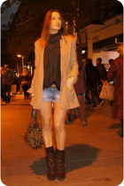 black Zara boots - camel H&M coat - bronze Purificacion Garcia bag
