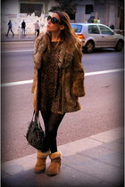 brown Miss Vintage coat - camel Ugg Australia boots - black Zara dress